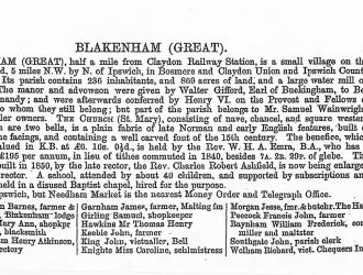 Great Blakenham Historic info, Kindly supplied by Mr & Mrs R Hood