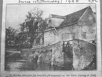 Water Mill burnt down press cutting 1928, Kindly supplied by Mr & Mrs R Hood